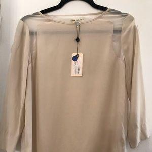 NWT Rag & Bone ivory silk blouse w/sheer back. S